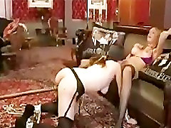 Blindfolded gal licks pussy stronged idol toyed from behind