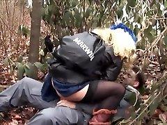 Blonde German holds her down in Black Down Jacket Sex