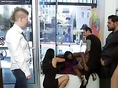 Ebony slave step son and young mother disgraced in store