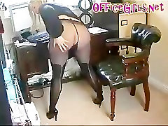 BBW Secretary Slut In Black Pantyhose With Stockings