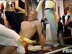 Blonde cute waiter fucks everyone