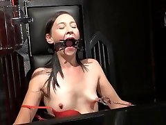 Amateur sweaty solo and brutal whipping of tied private slave girl