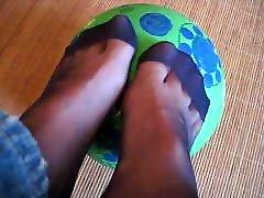 Mes pieds en nylon bleu