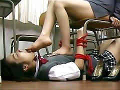 Japanese outside pissing teacher feet domination