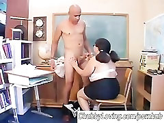 Big sex crazy and hungry asian BBW gives a great blowjob