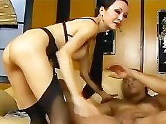 Long haired punished gir has sex in stockings garter and stilettoes
