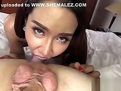 Slender busty ladyboy shemale satisfied a horny guy