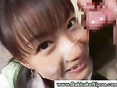 Amateur japanese babe gets mom booso and facial in groupsex