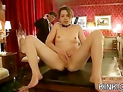 Pretty hot babe bound, oiled, punished