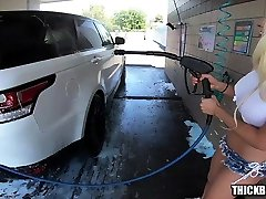 Big repa galis com and Tits Blonde Gets Soaped up at Car Was and Fucks Lucky Guy