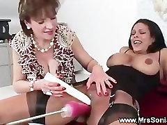Mature orgasm from sex machine