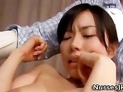 Japanese nurse vibrator play and blowjob