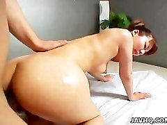 Sexy slim oiled butt dascharg sex hot threesome video with ffm Tsubasa Kato nailed hard