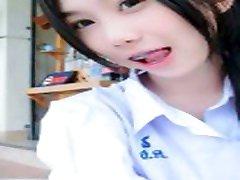Thai school uniform up skirt