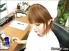 Asian nurse handjob cum play