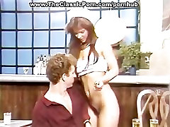 Retro hairy pussy taking hard rod
