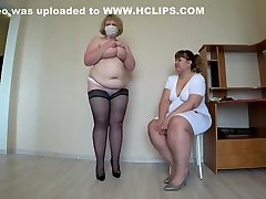 Milf came to the reception to the nurse and got an orgasm from fisting, a french pawg doggystyle shakes beautiful booty, lesbians POV.