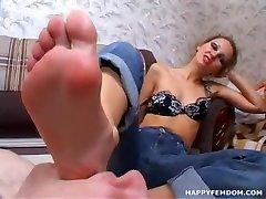 Russian femdom foot worship and trampling.