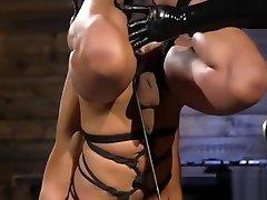 Suspended bdsm loving stud sucking cock