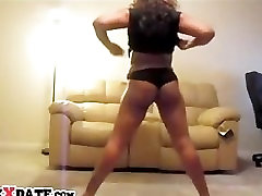 Hot black girl shakes her booty and tall old man tits