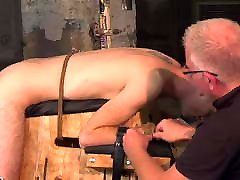 Submissive young gay submits to master for clamp torturing