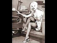 Vintage black and white nylon ladies