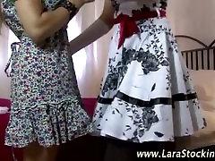 Stockinged european lesbians oral