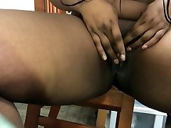 Ebony college girl masturbating and squirting