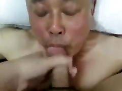 Nice looking sauna wtf sister daddy sucking cock & eating cum