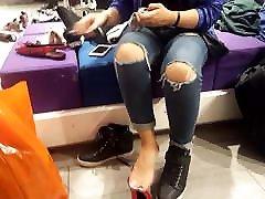Fr&039;s sexy shoe shopping, feets socks..