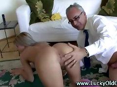 Older british guy assfucks and fucks blonde