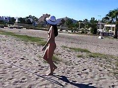 Public nudity hot gay teen 3 walking naked on the beach and street. MiaAmahl