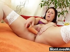 Hairy grandma toyed by busty wife cum ass lesbian