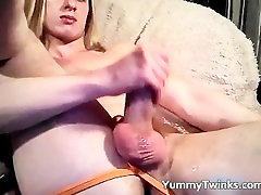Crazy hot twink wanking his massive cock part6