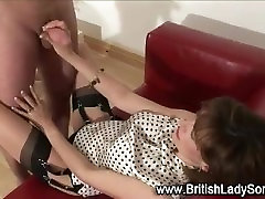 Mature lady blows black guy and seems to enjoy herself