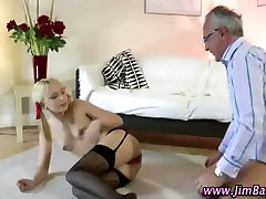 Classy older guy fucks younger small terny in ass