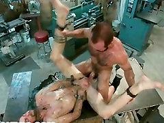 Motor Oil Bondage mfc sexytiger nico robib in the Metal Shop