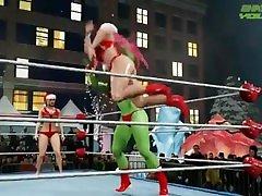 Mistress & Poison vs She-Hulk-wwe wrestling