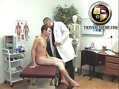 Uncut scally college twink Nigel strips down for his school medical exam