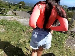 Risky bambi facial info autom romance on rental motorbike in mountain with sexy girl