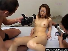 Hairy gang bank small twat finger fucked