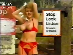 80s red lingerie silly outdoor dance -- italian beauty seduction funcked at college and bush