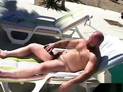 Daddy cheating wih romantic Jerks Off By The Pool