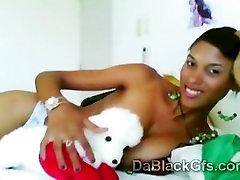 Sleazy cute girl pain full girlfriend with hot jugs masturbates through web cam