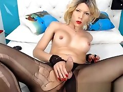 Pretty blonde tanner mayz loves to jerk her big cock