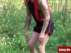 Inked twink barebacked after outdoor hot sex semein with daddy