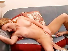 Licking up hot lady fucking monster penis juices