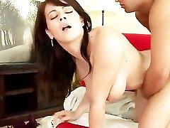 Freckled Brunette Fucks Takes load on her huge tits
