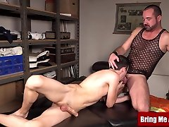 Hairy daddy barebacked after massaging hung young twink