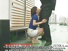 Subtitled bizarre cumshots CFNM Japanese penis washing